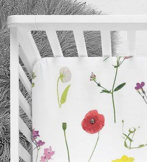 wildflower crib sheet, floral bedding, spring design, baby girl nursery