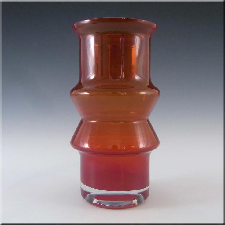 Riihimaki/Riihimaen Red Glass 'Tuulikki' Vase #1519 - £30.00