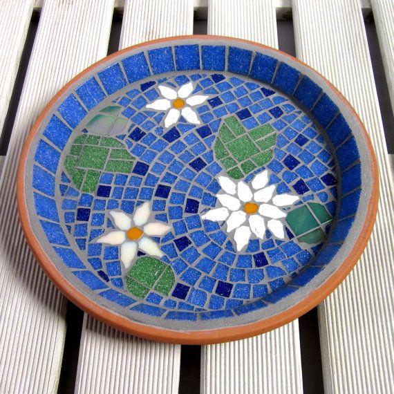 White Water Lily Mosaic Pond Garden Yard Bird Bath by JoSaraUK