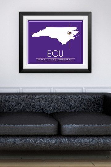 "East Carolina University Map Wall Art - 31"" x 37"" by Sports Collection on @HauteLook"