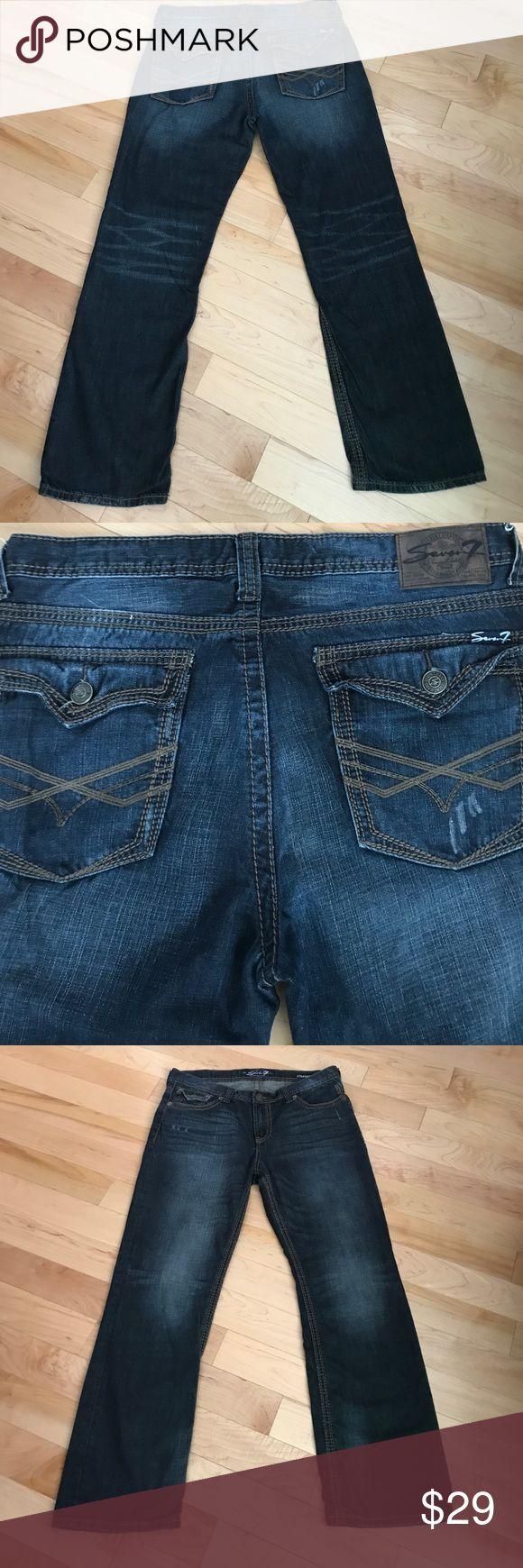 Men's size 36 x 32 designer seven jeans Very cool dark men's straight distressed seven jeans 36 x 32 Seven7 Jeans Straight