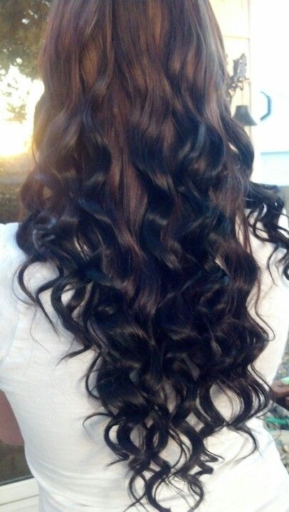 this is what my hair kind of looks like now light to dark brown <3 reverse ombre