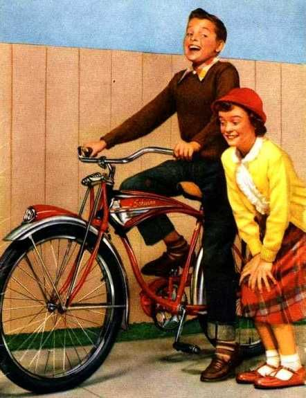 """Yep, I think we ALL had Schwinns. [New Schwinn - 1952] but I don't remember us all looking so dorky. Of course, in reality, my first memories of an actual YEAR are from 1957 because I remember I had a penny with """"1957"""" on it and it was a BIG deal to me at age 4."""