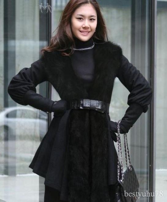 Black Fox Fur Wool Coat by Christian Dior