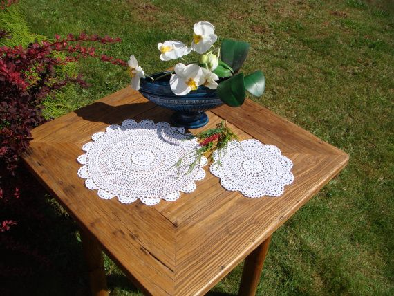 Vintage Pair of White cotton Crochet Doilies by MyBlueHummingbird