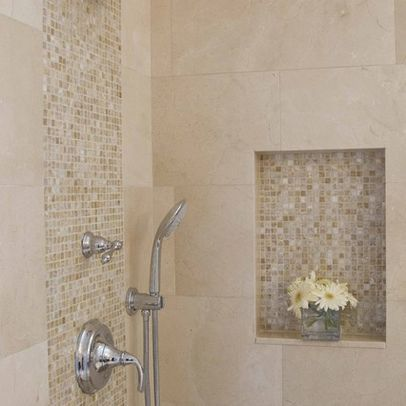 Cream Mother Of Pearl Tiles shower tile accent. Found at https://www.subwaytileoutlet.com/