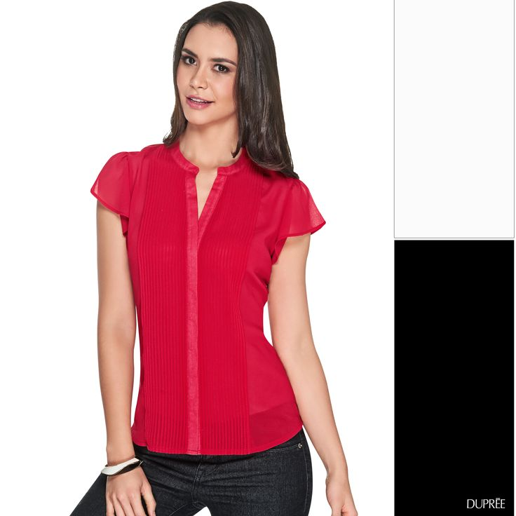 Combina el rojo con colores neutros. Blanco o negro serán la mejor opción. #Ideas de #moda #Dupree