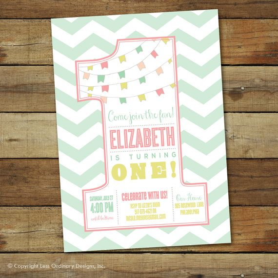 First Birthday Party Invitation, Number One 1st Birthday