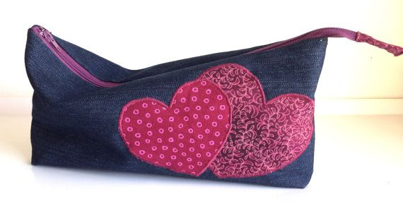 Denim Zippered Pencil Case with Burgundy Pink by LaVieBoeretroos