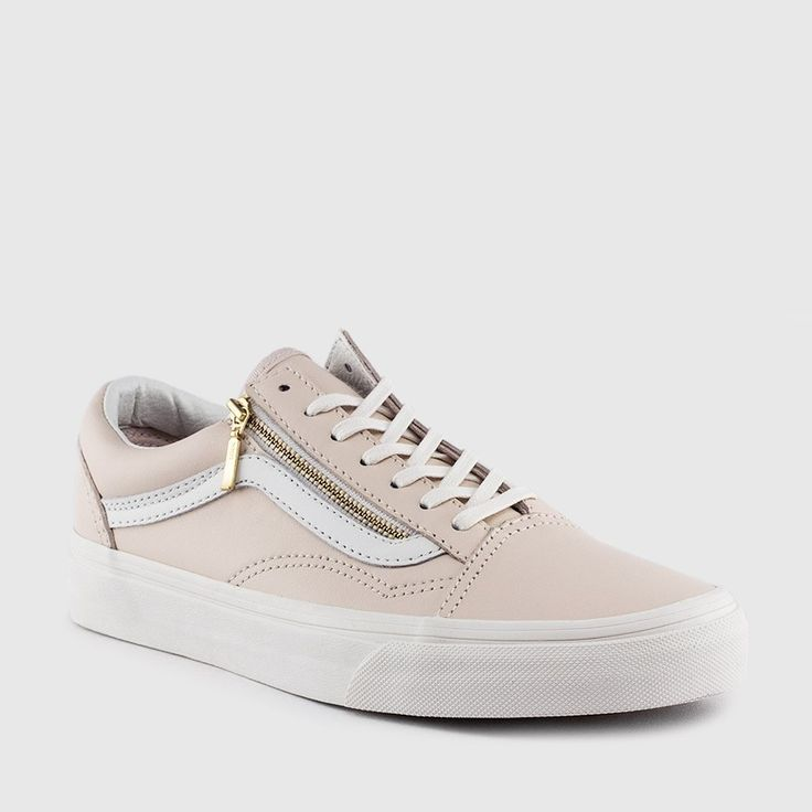 Vans - Women's Old Skool Zip Perf Leather (Whispering Pink | Blanc)