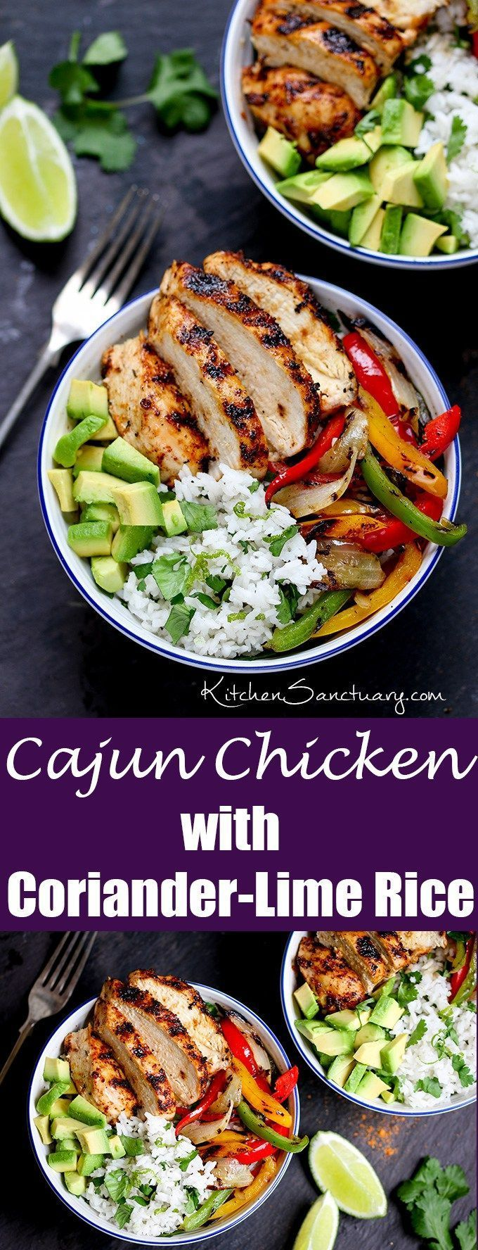 Juicy griddled Cajun #chicken with charred veggies and coriander-lime #rice – ready in 30 minutes. A great weeknight dinner!