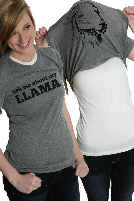 Women's Ask me about my Llama shirt funny llama flip t shirt S-2XL