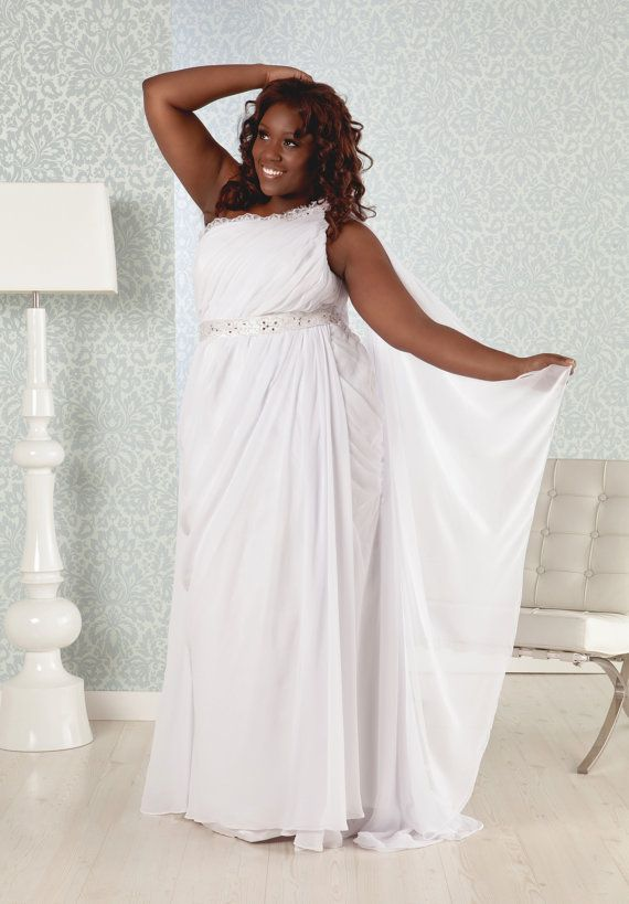 Plus Size Wedding gown, Greek Goddess dress, chiffon, high slit with one shoulder neckline on Etsy, $999.00