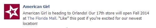 American Girl to Open Store in Orlando, Florida