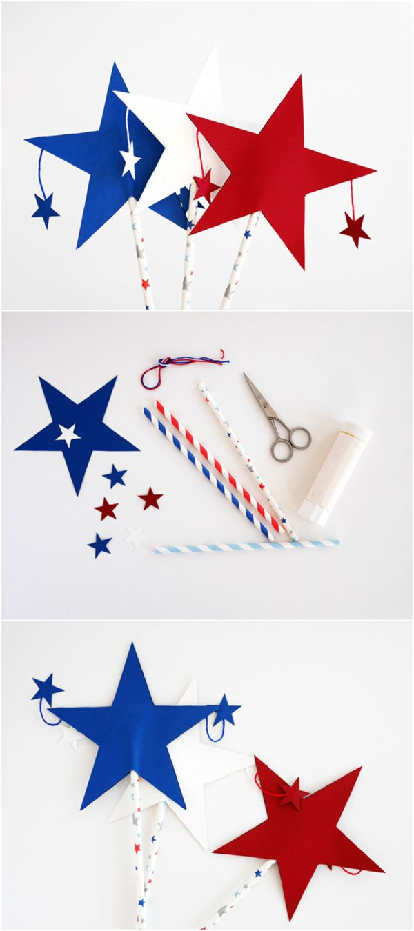 Easy DIy Patriotic Paper Star Wands. So cute for the 4th of July, Memorial Day or Labor Day craft for kids.