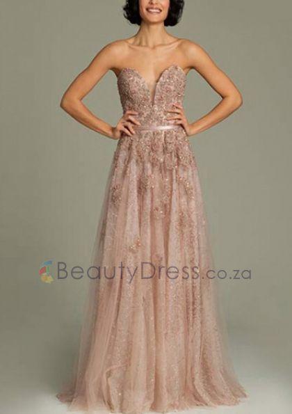 Zipper Pearl Pink Floor-length Sleeveless A-line Appliques Strapless Dresses - 1506104 - Prom Dresses