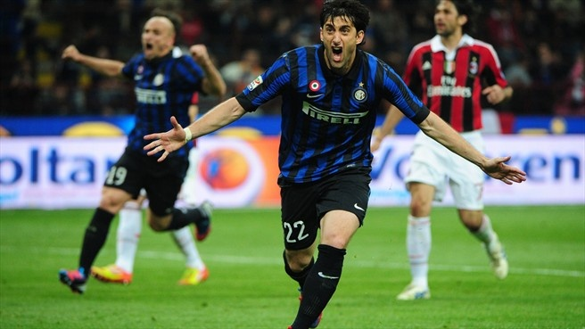 #sempremilito Diego Alberto Milito (FC Internazionale Milano)  Diego Milito of FC Internazionale Milano celebrates after scoring his third goal during the Italian Serie A match against AC Milan