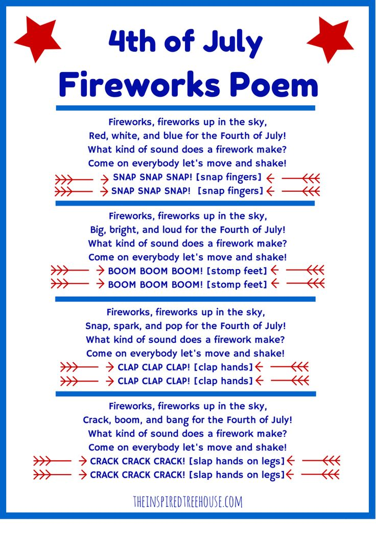 4th of July Fireworks Poem movement activity for kids