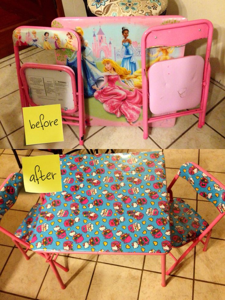 Recover kids folding table...just pick your favorite fabric...iron it flat...then buy plastic covering by the yard and unscrew table top and chairs...measure by placing on top of fabric and plastic... then use a staple gun and then reattach and your done