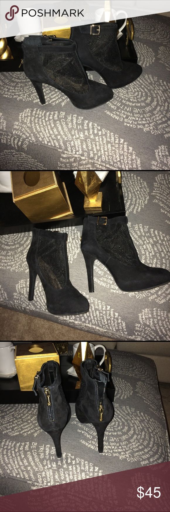 Boots 4 1/2 inch Suede and Lace Booties with gold hardware. 1 inch platform. Worn one time. In excellent condition. Jessica Simpson Shoes Heeled Boots