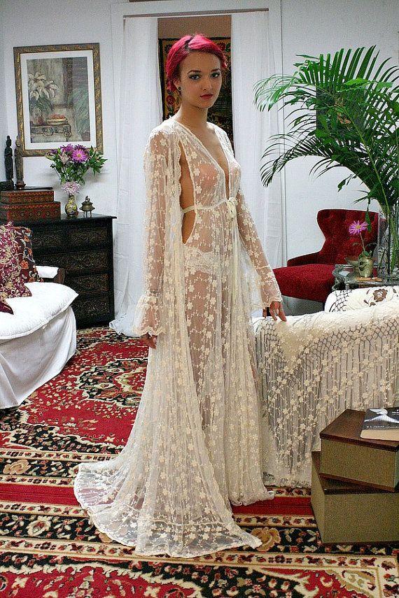 Erbstück Spitze Braut Nachthemd bestickt Elfenbein Französisch Spitze Hochzeit Nachthemd Dessous Seide Details