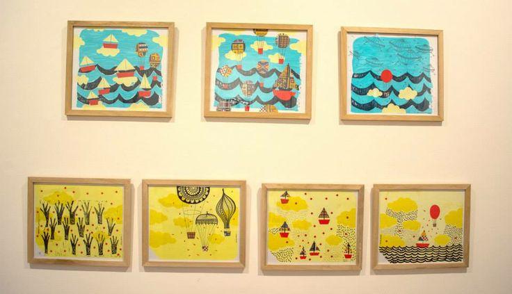 técnica mixta grabado/dibujo/collage  de la serie Viajeros 2013  *sus marcos son de color rojo.