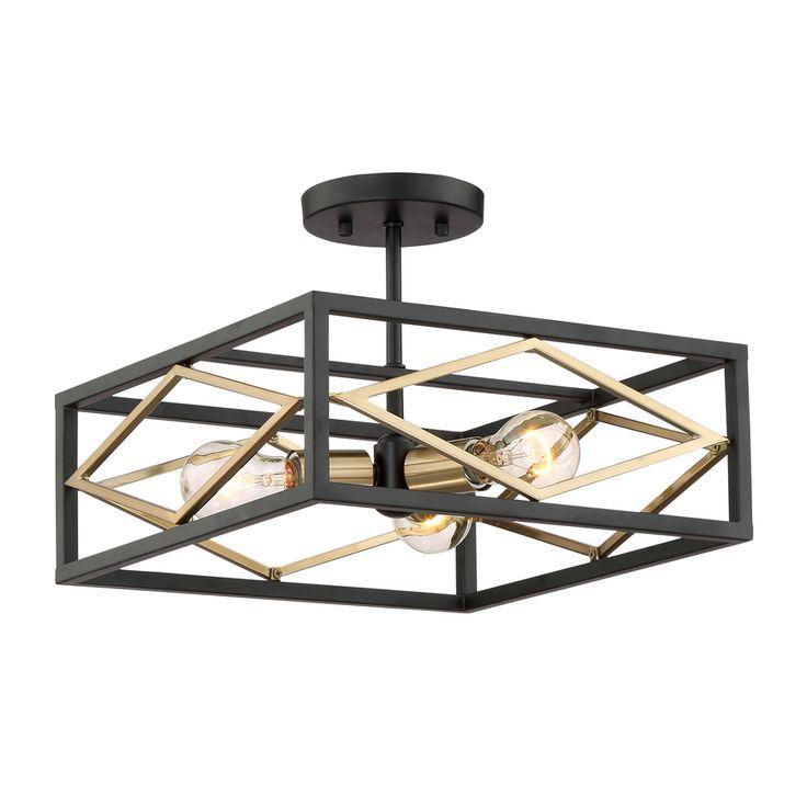 Quoizel Platform 14 In W Black With Gold Glass Semi Flush Mount Light
