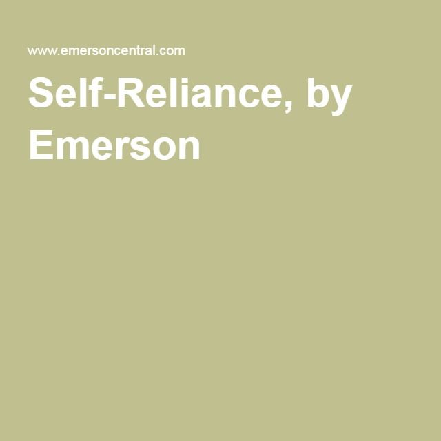 Self-Reliance, by Emerson