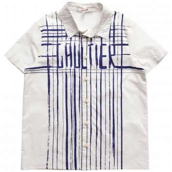 Junior Jean Paul Gaultier - Boys Cotton Branded Stripe Short Sleeve Ivory Shirt - $111.24