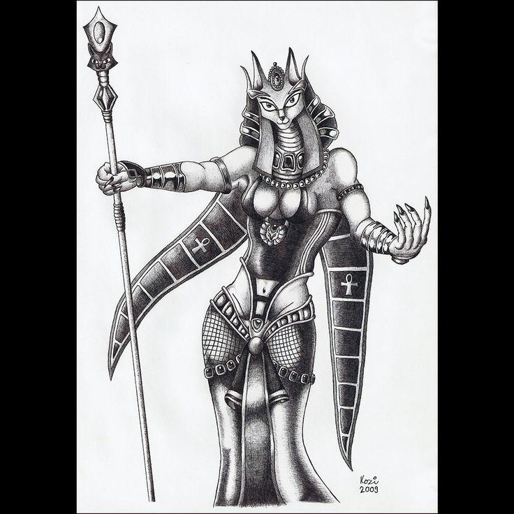 Goddess Bastet | ballpoint pen drawing | 2009 on Behance