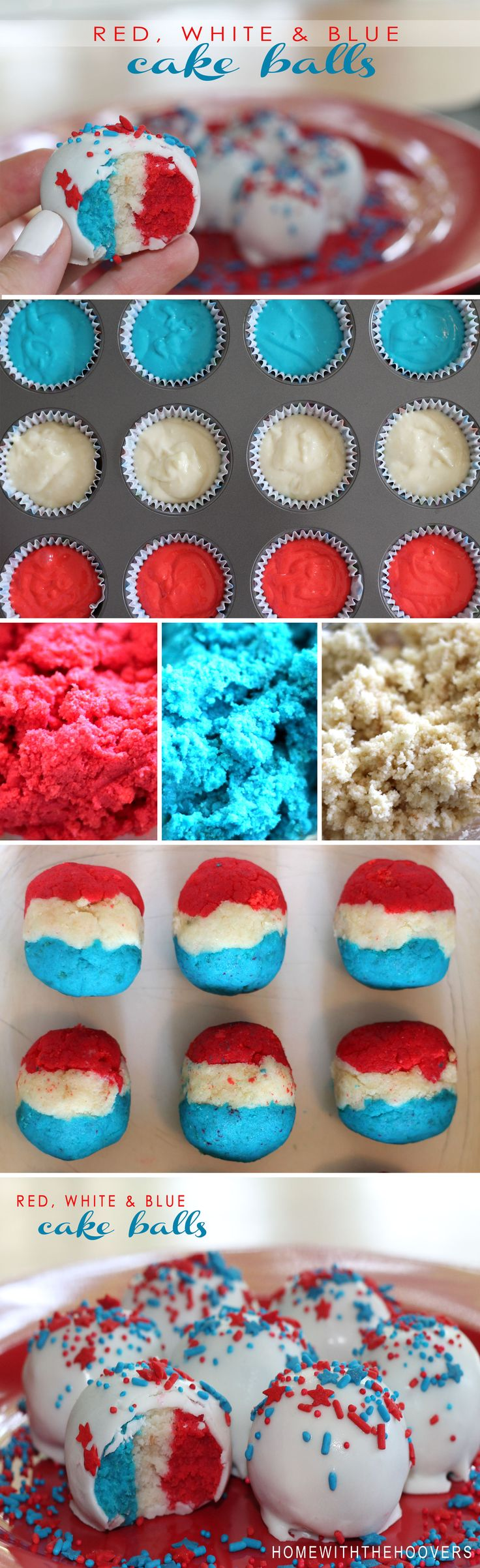 Red, white and blue cake ball tutorial!  Fourth of July cake balls.  // Home with the Hoover's Blog