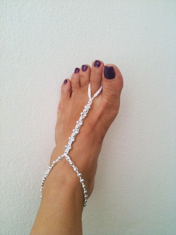 wedding Silvery  colored beads  whit white by ArtofAccessory, $10.00Nude Shoes, Foot Jewelry, Colors Beads, Beads Whit, White Macrame, Whit White, Beach Weddings, Feet Jewelry, Silvery Colors
