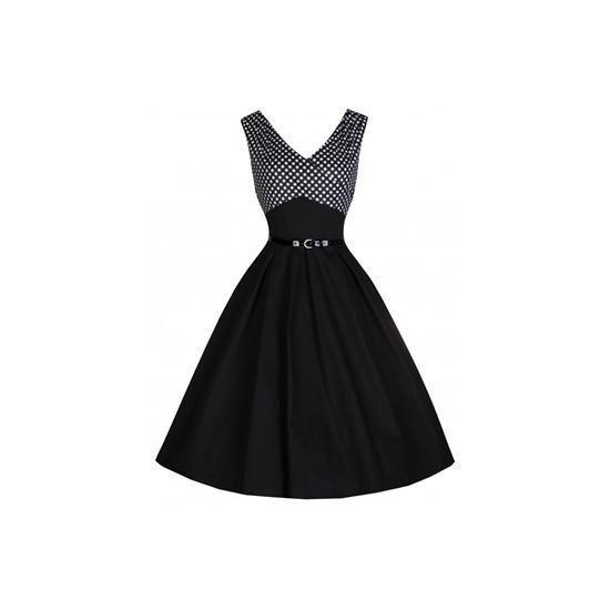 Retro šaty Lindy Bop Valerie Black šaty ve stylu 50. let. nádherné šaty vhodné pro slavnostní příležitost - na ples, do divadla, na svatbu, večírek. dokonalá klasika, která nikdy neomrzí. zapínání vzadu na zip, součástí pásek. doporučujeme se spodničkou, kterou najdete také v nabídce