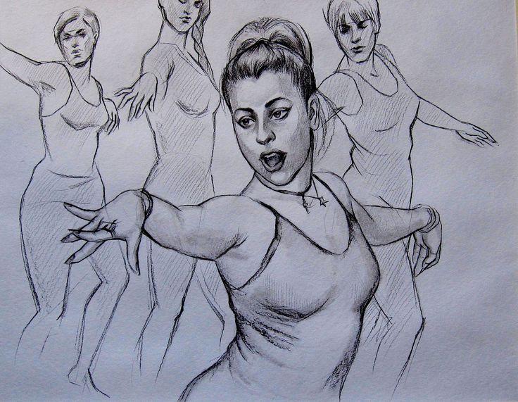 Olga Vinnitskaya. Skizze mit Bleistift auf Papier.