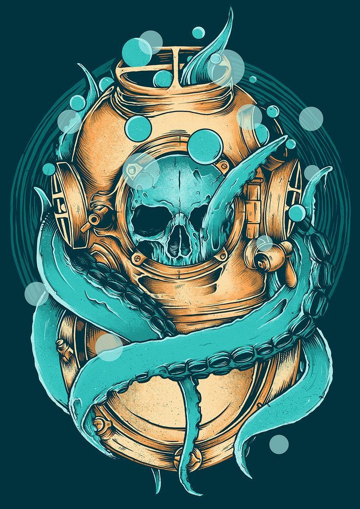 Esqueleto mergulhador #Lulamolusco #azul #amarelo