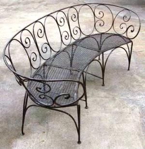 curved metal outdoor benches | Check out Mecox Gardens :