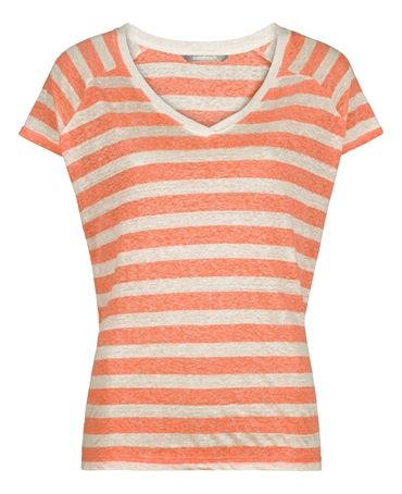 Sandwich Jersey Stripe T Shirt in cream and coral stripes £49 at www.lbdboutique.co.uk style number 1521510070