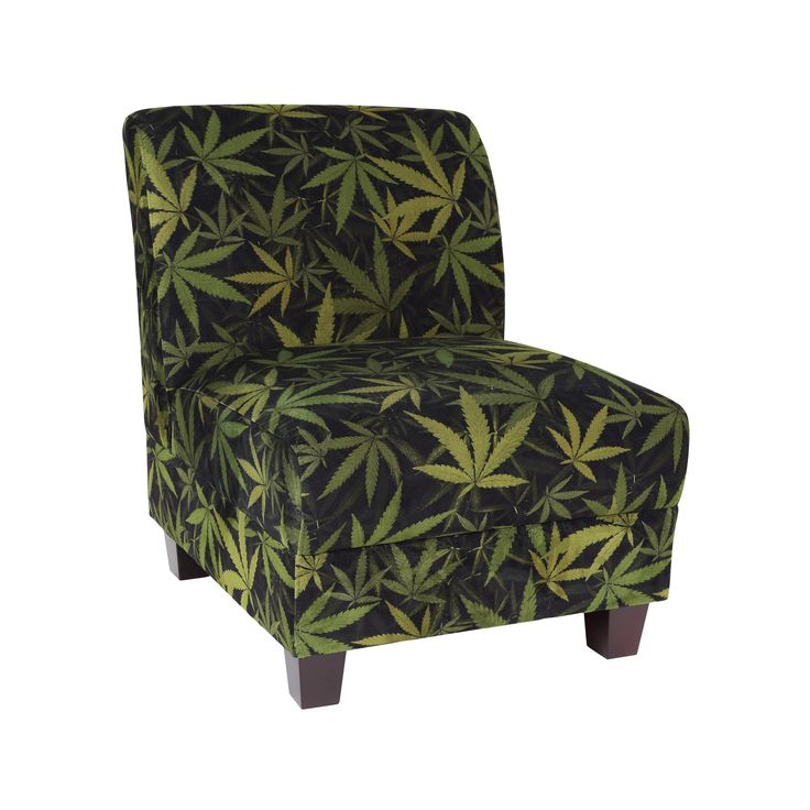Covered in stain-resistant velvety-luxe microfiber fabric, the Kush Armless Chair has a sturdy hardwood frame and high density foam. Your choice of two beautiful cannabis print velvets.