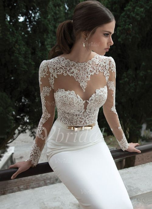 Wedding Dresses - $145.00 - Trumpet/Mermaid Scoop Neck Sweep Train Tulle Lace Jersey Wedding Dress With Bow(s) (0025088674)