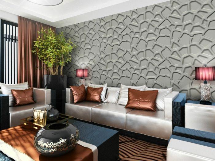 Wandpaneele Wohnzimmer Wnde Verkleiden Lange Gardinen Pflanze