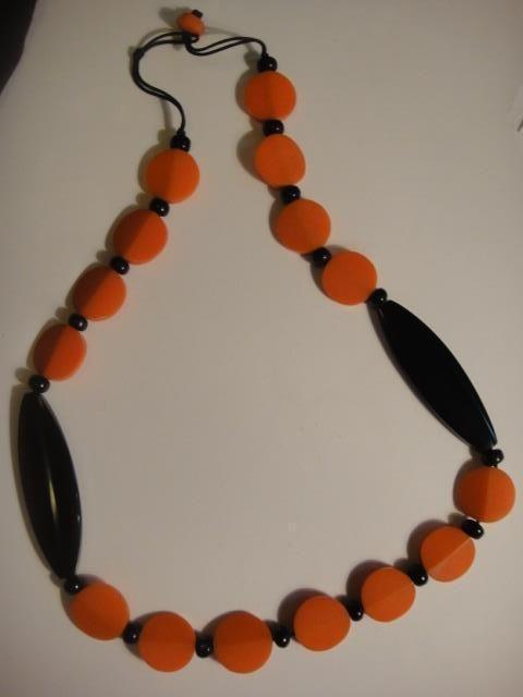 vintage resin necklace stunning beaded retro handmade 80cm celluloid plastic