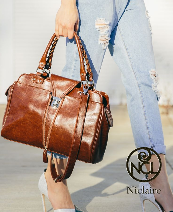 Charm Vintage Leather Tote for the day #Smart casual #Charming #SS 2015 #Niclaire
