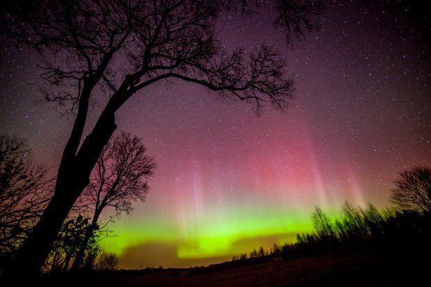 Zorza polarna nad Warmią i Mazurami , Aurora borealis - Poland.