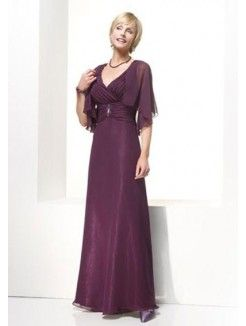 A-Line V-Neck Ankle-Length Chiffon Mother of the Bride Outfit With Ruched