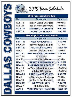 2015 Dallas Cowboys Football Schedule Magnet