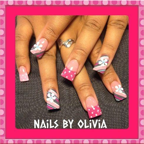pink and grey stripes and dots by Oli123 - Nail Art Gallery nailartgallery.nailsmag.com by Nails Magazine www.nailsmag.com #nailart