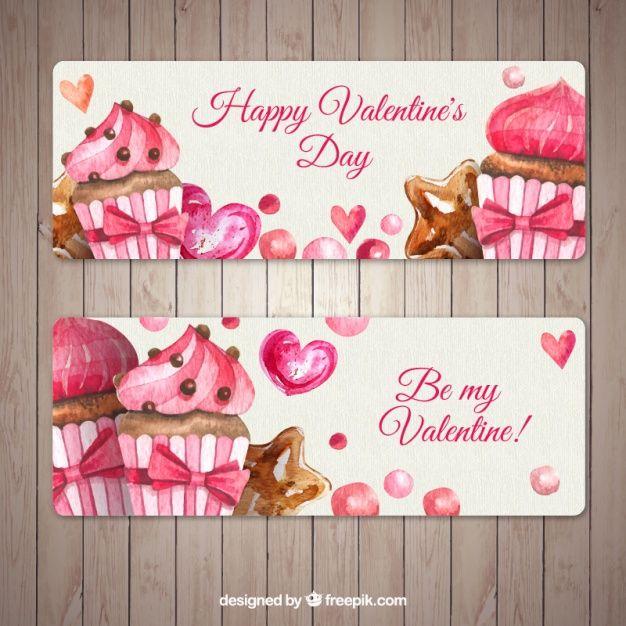 Потрясающие баннеры с кексы на День святого Валентина Бесплатные векторы