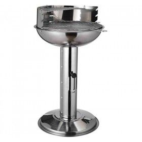 Outsunny Charcoal Barbecue Grill, Stainless Steel Pedestal, size (40.5x50x68cm)-Silver £23.99