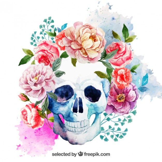 Cráneo de acuarela con flores