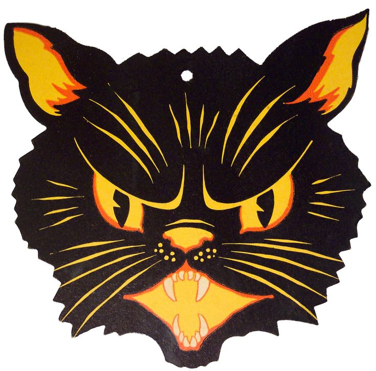 vintage halloween with an image of a black cat - Halloween Cat Decorations